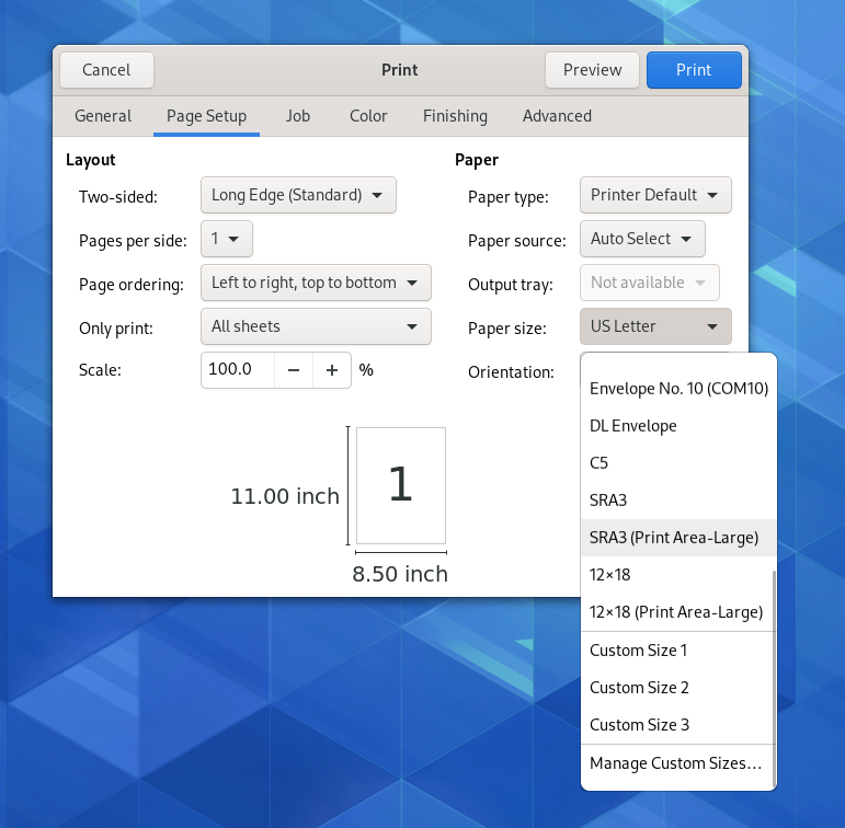 Paper size list in print dialog